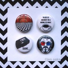 Twin Peaks Buttons  4pack mix & match by jenoaks on Etsy, $5.50