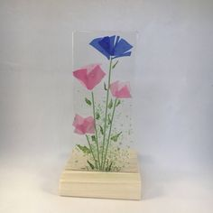 Floral Glass Plaque, Candle Display, Blue & Pink Flowers, Fused Glass, Home Decor, Gift for her, Birthday, Mothers Day by WarmGlassFusion on Etsy