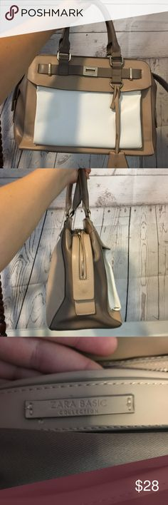 Zara basics purse brown and white Not many signs of wear, perfect for everyday use Zara Bags Shoulder Bags