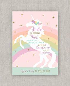 Unicornio mágico cumpleaños invitación por announcingyou en Etsy