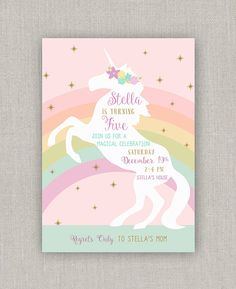 Magical Unicorn Birthday Invitation