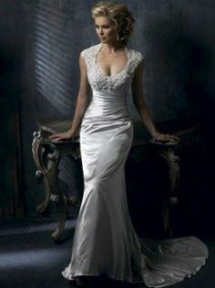 Trompette / sirène Scoop Tribunal train plafonné robe de mariée taffetas pour Brides
