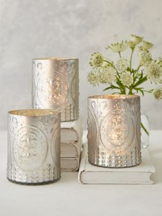 Silver Grey Embossed Tealight Holders
