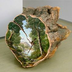 @ecoalf loves promoting recycled art work.  Artist-Alison-Moritsugu-Creates-Idealized-Depictions-of-Nature-Painted-Directly-on-Tree-Logs