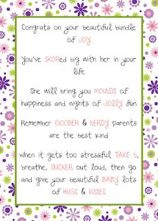 Baby Candy Poem Gift - free download
