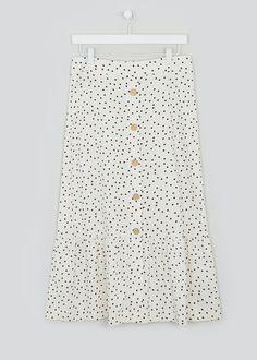 Polka Dot Co-Ord Midi Skirt – White – Matalan Polka Dot Print, Polka Dots, Midi Skirt, Sequin Skirt, Bardot Top, Matalan, Co Ord, White Skirts, Summer Looks
