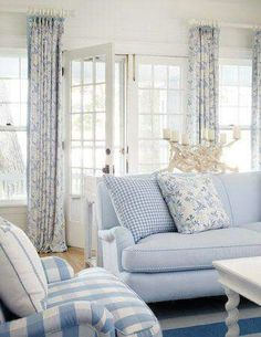 soothing blue and white cottage living room Cottage Living Rooms, Coastal Living Rooms, Home And Living, Living Room Decor, Cottage Interiors, Cottage Bedrooms, Style Cottage, White Cottage, Coastal Cottage