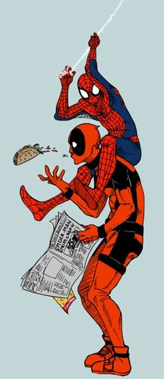 Deadpool and spiderman  More @ https://pinterest.com/ingestorm/comic-art-spiderman-friends & http://groups.google.com/group/Comics-Strips & http://groups.google.com/group/ComicsStrips & http://groups.yahoo.com/group/ComicsStrips &  http://www.facebook.com/ComicsFantasy & http://www.facebook.com/groups/ArtandStuff