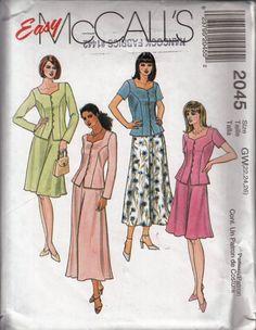 ef247e634d0 McCalls 2045 Womans Two Piece Dress Sz 22 24 26 Sewing Pattern