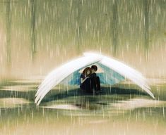 "The rain was pouring down, but she knew she was safe as long as he was there. They had found each other a year ago. She had never felt so complete...  ""It feels like when I'm with you, I don't even feel the rain,"" she said, snuggling up against him, eyes shut tight. ""You have no idea,"" he smiled. He would protect her... always."
