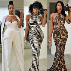 The third isn't my style but she pulls it off African Attire, African Wear, African Women, African Dress, African Fashion, Look Fashion, Fashion Outfits, Womens Fashion, Fashion Clothes