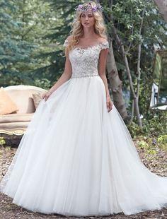 Balklänning Nedanför axeln Kort ärm brudklänning - $229.99