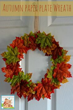 Autumn fall paper plate leaf wreath