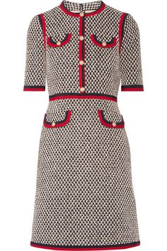GUCCI Grosgrain-Trimmed Cotton-Blend Tweed Mini Dress. #gucci #cloth #dresses