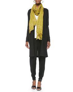 -5K41 Eileen Fisher Merino Wool Long-Sleeve Cardigan, Airy Grid-Striped Linen/Wool Scarf, Organic Cotton Slim Tank & Slouchy Drawstring-Waist Ankle Pants
