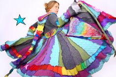 #etsy #recycled #clothing Colorful Recycled Sweater Coat