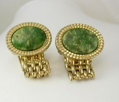 Vintage Green Agate Wrap Mesh Cufflinks by NeatstuffAntiques, $35.00
