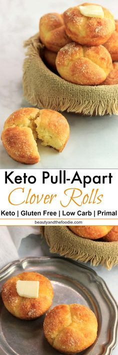 Keto Pull Apart Clover Rolls are the best low carb gluten free rolls that I have ever made! Soft, buttery, cheesy rolls that pull apart into three sections. Keto Bagels, Keto Biscuits, Breakfast Biscuits, Breakfast Muffins, Ketogenic Recipes, Low Carb Recipes, Cooking Recipes, Healthy Recipes, Ketogenic Diet