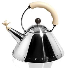 Alessi - Michael Graves White Ivory Kettle with Bird Whistle   Peter's of Kensington $234