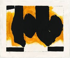 Robert Motherwell, 'Burning elegy', 1991, lithograph, hand dyed paper, National Gallery of Australia, Canberra, Purchased with the assistance of the Orde Poynton Fund 2002 © Dedalus Foundation, Inc./VAGA. Licensed by Viscopy
