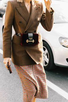 Fall/winter inspo #prada. Belted tan oversize blazer, suede Prada bag, plaid skirt. Street style, street fashion, best street style, OOTD, OOTD Inspo, street style stalking, outfit ideas, what to wear now, Fashion Bloggers, Style, Seasonal Style, Outfit Inspiration, Trends, Looks, Outfits.