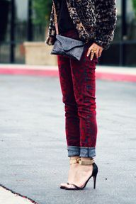 Repin if you're excited to mix different patterns and materials this season! Who knew a denim pant with velvet accents could pair well with leopard print?