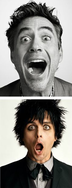 Creative Celebrity Portraits by Sam Jones - Robert Downey, Jr &  Billie Joe Armstrong    My two fav people!  :D