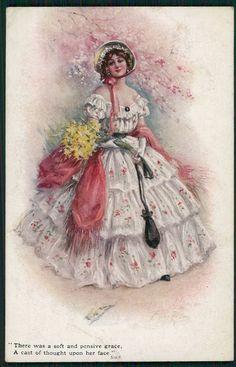 art Aveline glamour Lady & lord Byron poem original old 1910s postcard a04