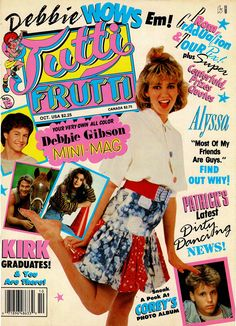 An October cover issue of Tutti Frutti magazine featuring Debbie Gibson as main photo. Tiger Beat, Celebrity Magazines, Teen Celebrities, Debbie Gibson, Tutti Frutti, Vintage Music, Alyssa Milano, Dream Guy, Magazine Covers