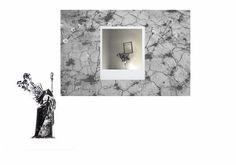 """""""Ipotesi di Innesto"""", Inchiostro tipografico e penna su carta, fotografia digitale e disegno su carta applicata a scheletro di polaroid."""