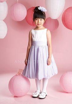 Awesome Tea Length Bateau Chiffon A line Purple Flower Girl Dress