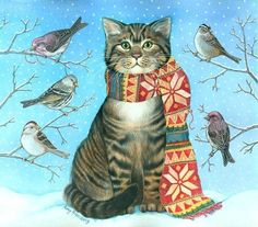 Ideas for cats and kittens illustration christmas cards I Love Cats, Crazy Cats, Cool Cats, Cat Embroidery, Winter Cat, Animal Gato, Photo Chat, Cat Cards, Cat Drawing