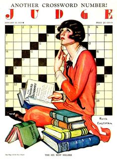 """""""The Six Best Sellers."""" Ruth Eastman's crossword puzzle cover for Judge magazine, January 10, 1925."""