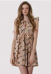 Deer Print Bowknot Dress in Nude Peach