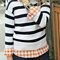 Plaid shirt under a stripped sweater. Love me some fall layers!