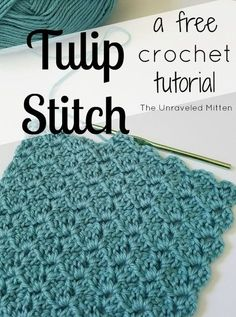 The tulip stitch is quick to crochet and forms a distinct zig-zag pattern as your project grows. Great for baby blankets, afghans, scarves and more.