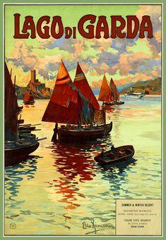 Italy, Lake Garda Travel Poster Print, 1930s