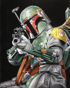 "Fett 14"" x 18"" acrylic on stretched black velvet ON HOLD FOR UPCOMING SHOW"
