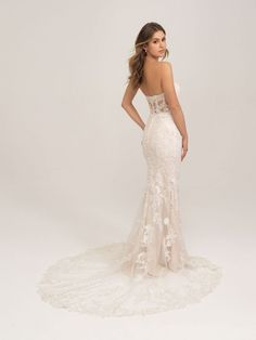 3453 by Allure Bridals shows off a lace strapless sheath wedding dress with a long lace illusion train Strapless Lace Wedding Dress, Sexy Wedding Dresses, Elegant Wedding Dress, Designer Wedding Dresses, Bridesmaid Dresses, Dress Lace, Girls Dresses, Flower Girl Dresses, Bridal And Formal