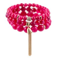 As seen in O, The Oprah Magazine! Set of 3 semi-precious beaded stretch bracelets with crystal and 22K gold-dipped accents. Berry pink is a color that inspires compassion and love. It is intuitive and insightful, providing warmth and reassurance