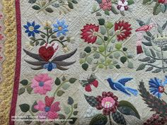Once again, another amazing applique quilt from Sally. Her vision for these appliques and fabric choices are so nice, there are lots of . Applique Quilt Patterns, Applique Designs, Caswell Quilt, Pin Cushions, Blanket, Baltimore, Fabric, Quilting, Crafts