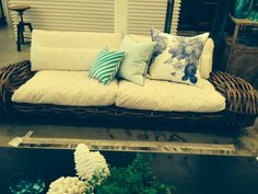 Cane Scoca 2.5 sweater sofa and spring turquoise and blue cushions just arrived! www.worldofempire.com.au