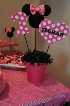 Minnie Mouse party center pieces....change to red white and yellow maybe instead?