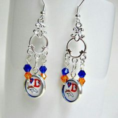 Denver Broncos Earrings.  See all my fun sports jewelry at etsy.com/shop/sportsjewelrystudio.