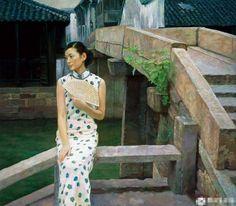 陈逸鸣油画作品:仕女系列-2 -  心如止水  2006年作 作品尺寸:101*127cm