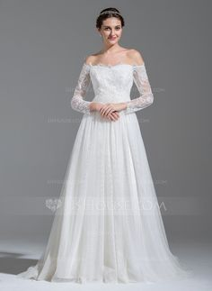 A-Line/Princess Off-the-Shoulder Sweep Train Beading Sequins Zipper Up Sleeves Long Sleeves Church General Plus No Winter Spring Fall Ivory Tulle Lace Wedding Dress