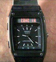 JAMES BOND MOVIE: For Your Eyes Only (1981)   WATCH: Seiko H357   GADGET: Built in Satellite Phone with scrolling LED message bar. (Blackberry anyone?)