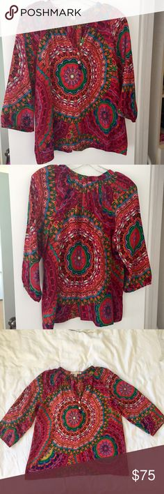 Anthropologie Top by Trinity Trinity Multicolor Top, boho style super fashionable Trinity Tops Blouses