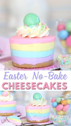 These mini cheesecakes are going to be the star of the show this Easter! They are full of flavor, and perfect for sharing! Don't hesitate with this recipe, it's no-bake! deserts recipes easy desserts Easter No-Bake Mini Cheesecakes Desserts Ostern, Köstliche Desserts, Desserts For Birthdays, Food Deserts, Mini Cheesecakes, Food Cakes, Cupcake Cakes, Mini Cakes, Baking Recipes
