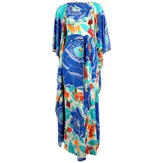 early 1970s MISSONI silk jersey floral caftan dress 1